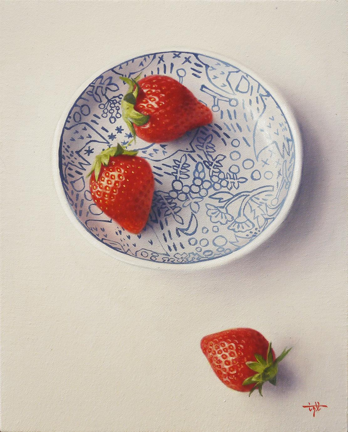 A picture tray and strawberry