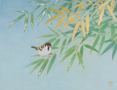 Bamboo and sparrow