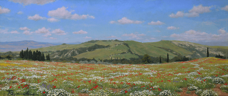 Tuscany Scenery of flowering hill