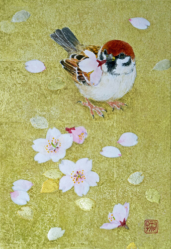 sparrow and cherry blossom
