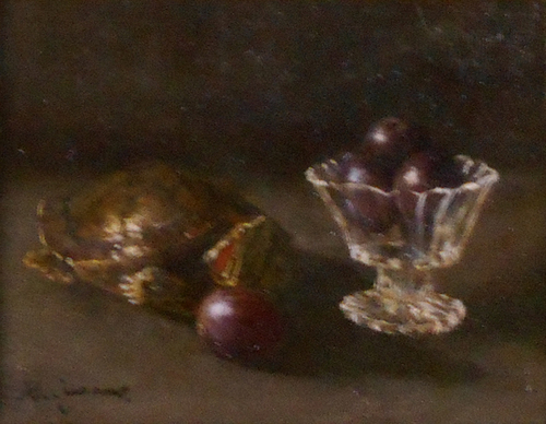 Still life of tortoise and grapes