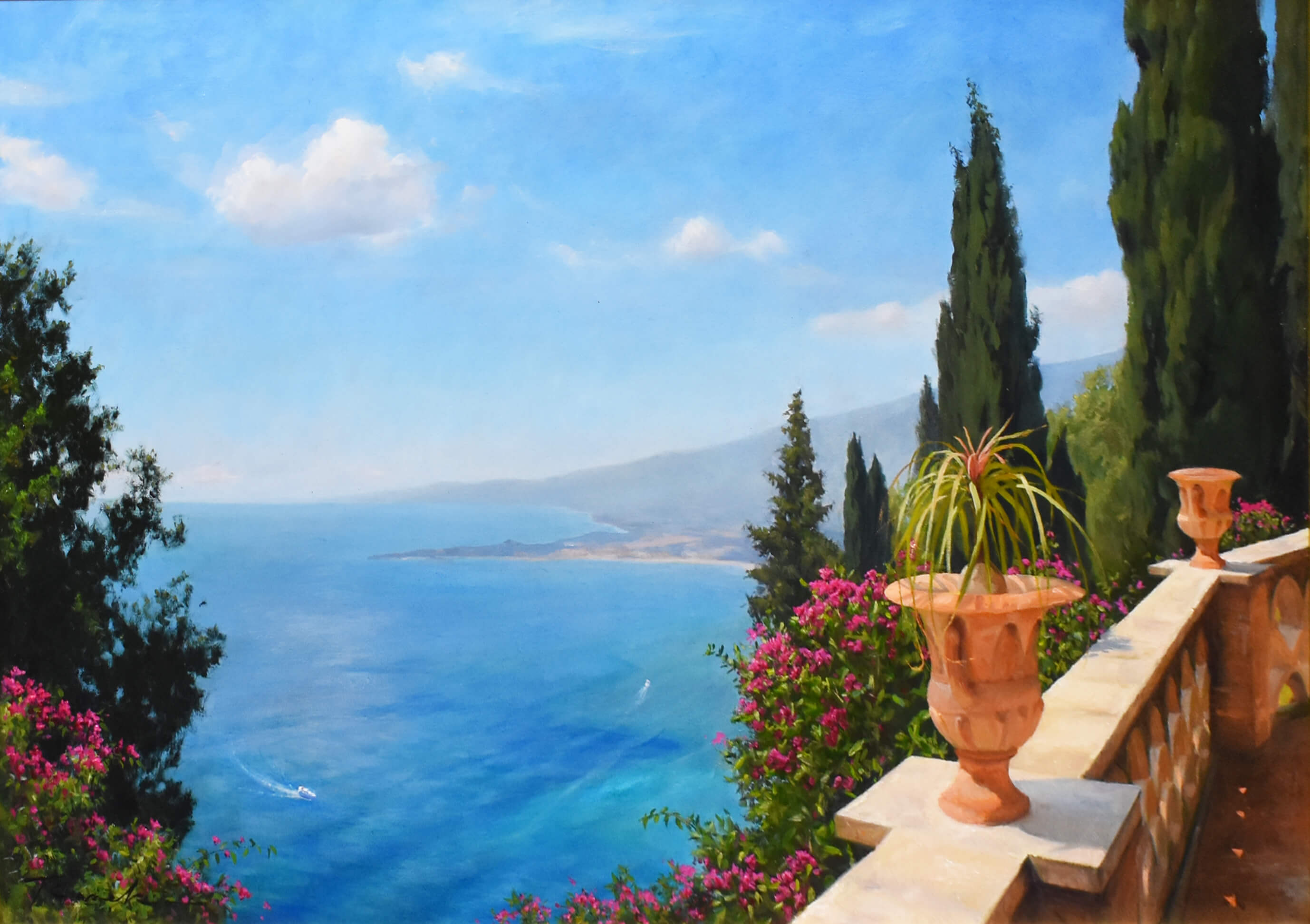 Bougainvillea blooms ionian sea view