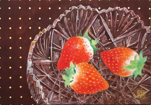 Strawberries on glassware