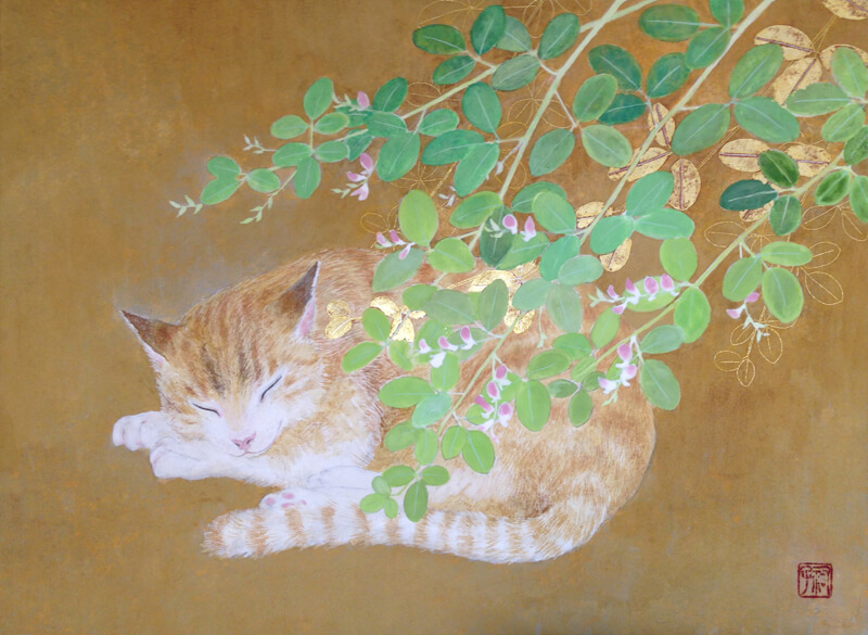bush clover and cat