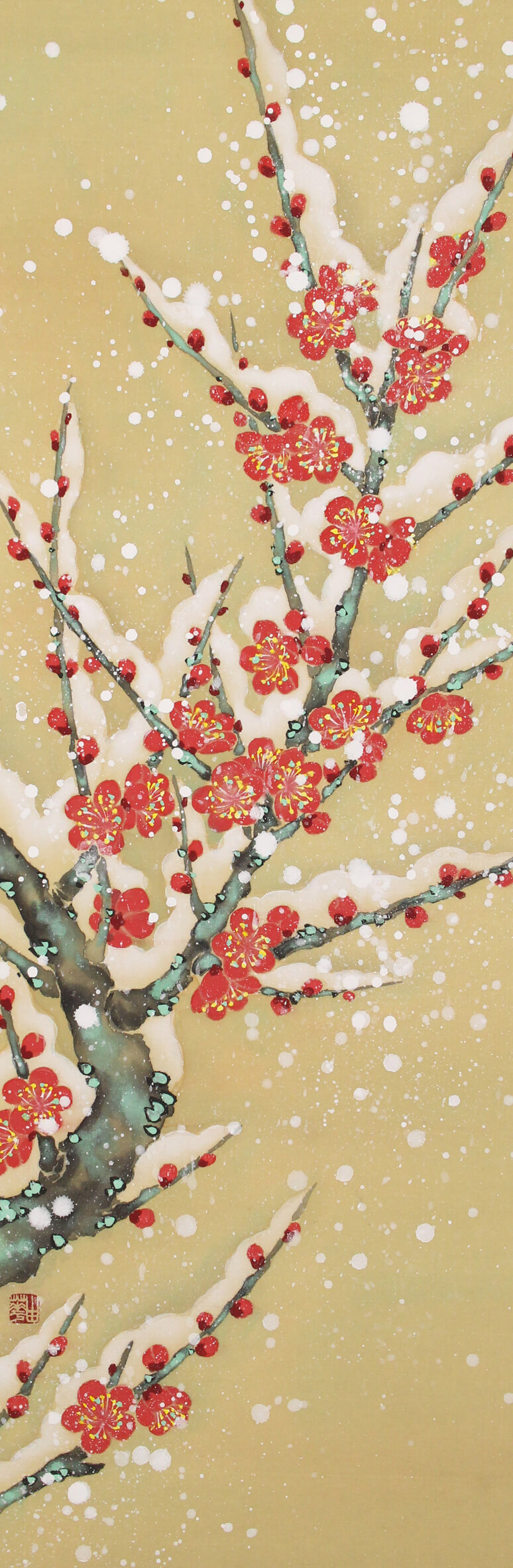 Red plum with snow